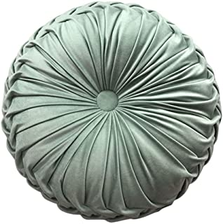 Elero Round Throw Pillow Velvet Home Decoration Pleated Round Pillow Cushion for Couch Chair Bed Car Light Green, One Size