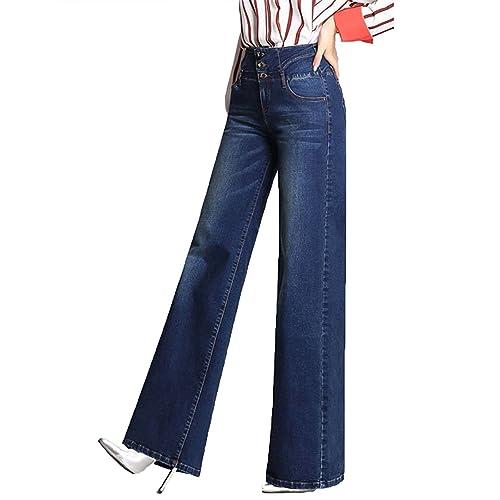 51d3406122ce Minghe Women's Wide Leg Jeans Retro High Waisted Curvy Stretch Bootcut Denim  Jean