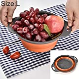 YI-WAN A Domicilio Doble la Cesta de Frutas para Ahorrar Espacio para Lavar Las Verduras con un Mango (Color : Orange)