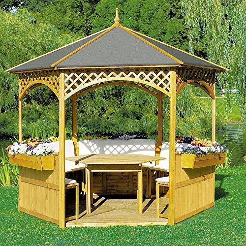 Pavillon Palma mit Holzdach u. Dachpappe mit/ohne Möbel Holzpavillon, Ausstattung:mit Möbel