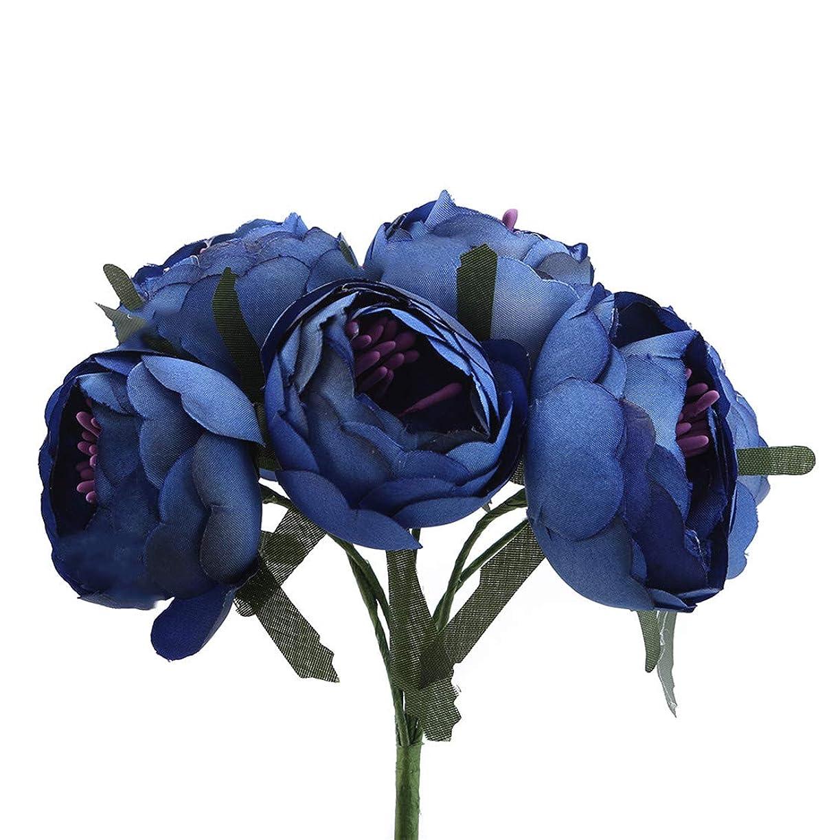 自分自身地震日の出Idiytip 6個 結婚式 ウエディング用 シルクフラワー 造花 牡丹 手作り お祝い 飾り 美しい DIY 装飾(ダークブルー)