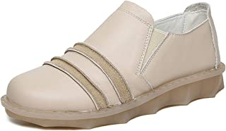 Women's Casual Shoes Leather Loafers & Slip-Ons Non-Slip Shallow Platform Shoes Deck Shoes Black Beige Brown,Beige,36