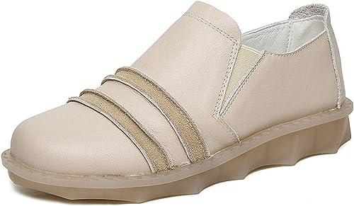 YAN zapatos Ocasionales de Las mujeres Mocasines de Cuero y Slip-Ons zapatos Antideslizantes de plataforma Baja zapatos de plataforma negro Beige marrón,Beige,35