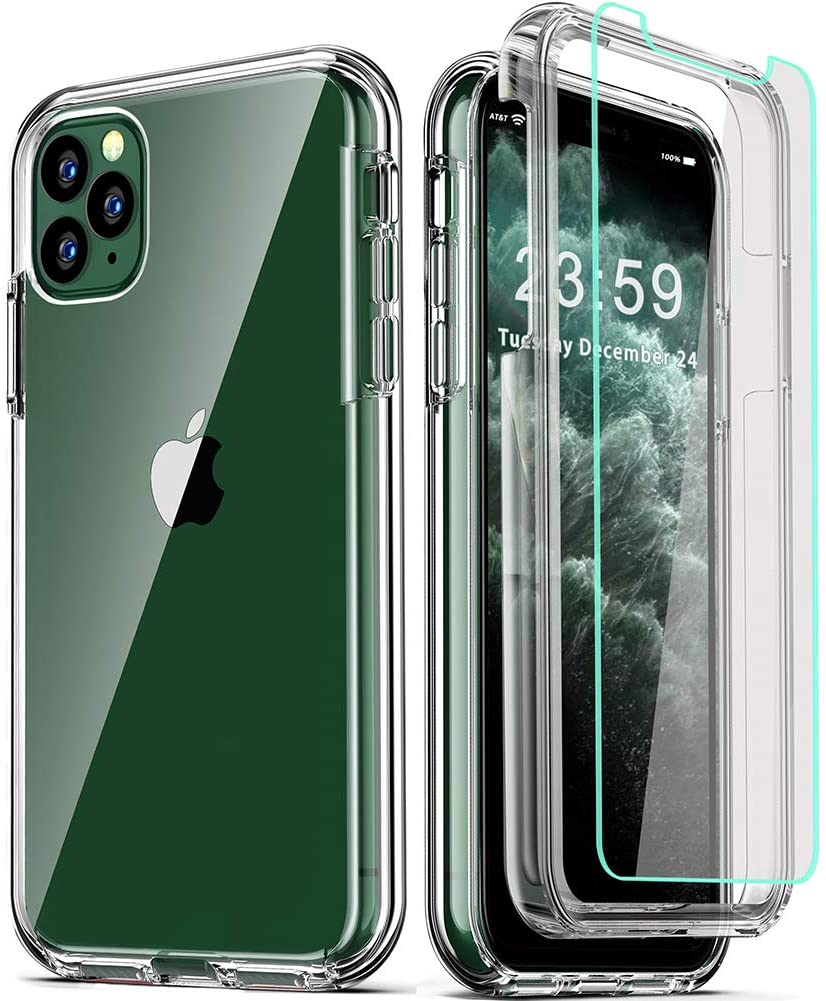 COOLQO Compatible for iPhone 11 Pro Case 5.8 Inch, with [2 x Tempered Glass Screen Protector] Clear 360 Full Body Coverage Silicone [Military Protective] Shockproof for iPhone 11 Pro Cases Phone Cover