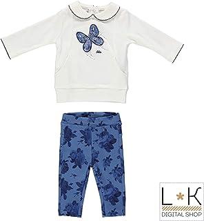 b3067947853108 MINIBANDA Completo con Legging E Maxishirt Bianco/Blu Neonata N775
