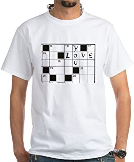 CafePress Love You Crossword Puzzle White Cotton T-Shirt