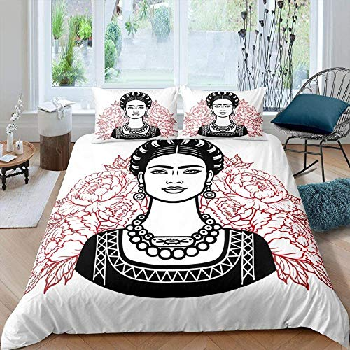 Evvaceo 3D Printed Bedding Set For Children Teens Abstract Pink Floral Sexy Woman 220 Cm X 230 Cm Duvet Cover Set With 2 Pillowcases Microfiber Quilt Cover With Zipper Closure Double (king)