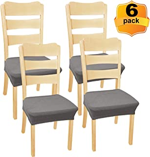 NORTHERN BROTHERS Dining-Chair-Seat-Covers-Chair Seat Covers - Chair Covers for Dining Room (Grey, 6 Piece)