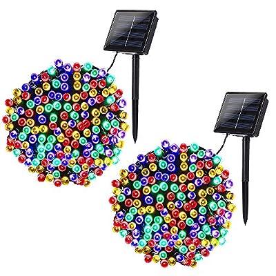 Joomer 2 Pack Solar Christmas Lights 72ft 200 LED 8 Modes Solar String Lights Waterproof Solar Fairy Lights for Garden, Patio, Fence, Balcony, Outdoors (Multi-Color)