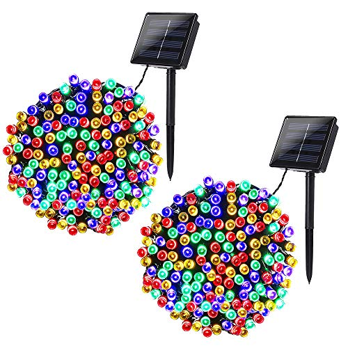 Joomer 2 Pack Solar Christmas Lights 72ft 200 LED 8 Modes Solar String Lights Waterproof Solar Fairy Lights for Garden, Patio, Fence, Balcony, Outdoors (Multi-Color)