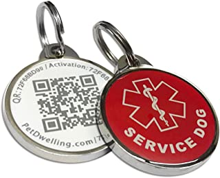 Pet Dwelling Advanced Service Dog QR Code Pet ID Tag Links to Online Profile w/Photo ID/Medical INFO/Google Map Location Stamp(Epoxy Coating) -Holiday Special!