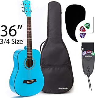 Acoustic Guitar Bundle Junior (Travel) Series by Hola! Music with D'Addario EXP16 Steel Strings, Padded Gig Bag, Guitar Strap and Picks, 3/4 Size 36 Inch (Model HG-36LB), Light Blue