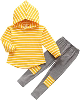 MODNTOGA Toddler Kids Girl Striped Long Sleeve Hoodie Pants Outfits Winter Sweatpants for 3-6Y