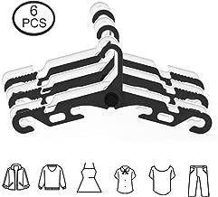 YOLOKE 6Pcs Folding Clothes Hanger, Portable Folding Clothes Hangers Travel Accessories,Non-Slip Sturdy Drying Rack Garment Hangers for Suit/Coat/Pants/Tank Top Black/White Color
