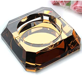 Ashtray, Trendy Creative Personality Crystal Ashtray Multifunctional Pretty European Living Room Large Ashtray Glass for Men Gift Send (Color: Purple),Colour:Purple (Color : Purple)