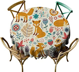 Mannwarehouse Fox Waterproof Tablecloth Natural Wildlife Composition with Cute Foxes Ornate Flowers Flying Birds Kids Nursery Easy Care D39 Multicolor