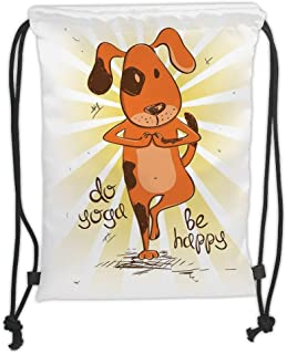 Drawstring Backpacks Bags,Yoga,Cartoon Dog Doing Tree Position Do Yoga Be Happy Life Message Cute Funny,Orange Yellow Brown Soft Satin,5 Liter Capacity,Adjustable String Closure,TH