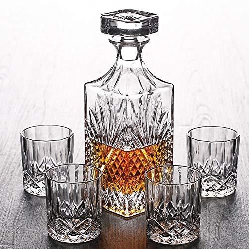 ZXYWW Gepersonaliseerde Loodvrije Glazen Decanter en Glazen Set, Inclusief 4 Glazen Set voor Scotch/Bourbon, Home Bar Decor