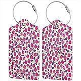 Rosa frambuesa personalizada cuero maleta de lujo etiqueta set viaje accesorios equipaje etiquetas