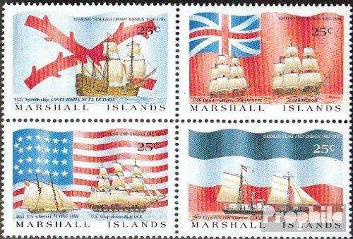 Prophila Collection Marshall-Inseln 185-188 Viererblock (kompl.Ausg.) 1988 Entdeckungsschiffe und Flaggen (Briefmarken für Sammler) Seefahrt
