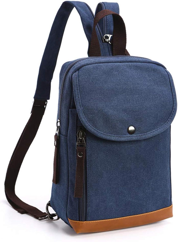 RABILTY Vintage Men Women Backpack Daypack Waterproof Zipper Canvas Dual Purpose Chest Bag Outdoor (color   Navy blueee)