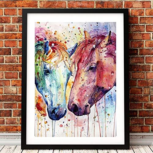 DIARQT Dekorative Gemälde Ölgemälde Wandkunst abstrakte Moderne Tiere Zwei Pferde Bild Innendekoration zum Drucken Wanddekor Malerei Leinwand Wandkunstmalerei-20x28inch