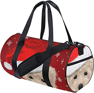 Vdsrup Christmas Winter Snowflakes Cute Dog Sports Bag Santa Hat New Year Eve Gym Duffel Canvas Bag Compact Travel Luggage Totes Bag with Handle Crossbody Shoulder For Weekender Men Women Yoga School