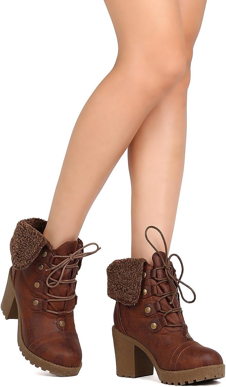 DBDK FE38 Women Leatherette Lace Up Shearling Chunky Heel Bootie - Camel
