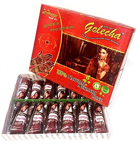 JPR - 12x 100% Natürliches Mehndi Cones (Rot-Braun), NO MIX, Halal Veg, klinish getestet - für temporäre Tattoo Designs + SRK Postkarte