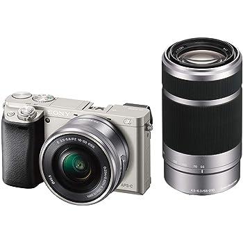 ソニー ミラーレス一眼 α6000 ダブルズームレンズキット E PZ 16-50mm F3.5-5.6 OSS + E 55-210mm F4.5-6.3 OSS シルバー ILCE-6000Y S