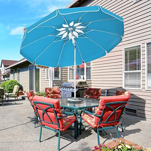 MOVTOTOP 2M Garden Umbrella, Non-Rusting Parasol Umbrella with Tilted Aluminum Crank, Beach Patio Umbrella Sun Shade Protection UPF50+, Market Parasol for Balcony, Patio, Fishing, Backyard