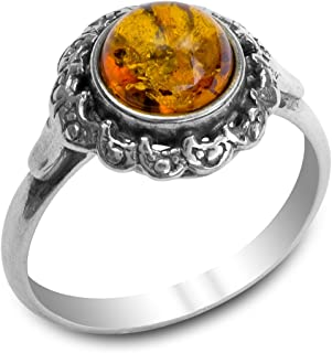 Ian and Valeri Co. Amber Sterling Silver Victorian Style Ring