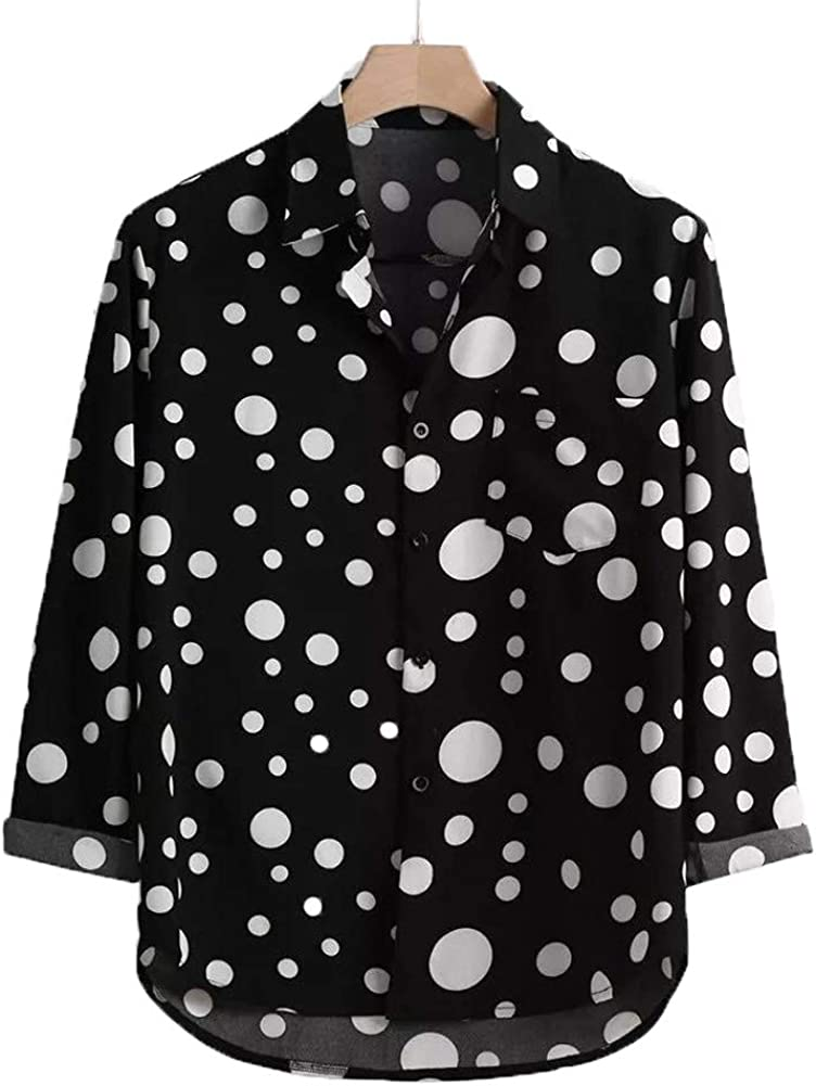 Mens Long Sleeve Henley Shirt Casual Wave Dots Button Down Lapel Cotton Shirt Slim Beach Tops