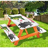 LEWIS FRANKLIN - Cortina de ducha con diseño de animales de lujo para picnic, diseño de cocodrilo, cabra con borde elástico, 28 x 72 pulgadas, juego de 3 piezas para mesa plegable