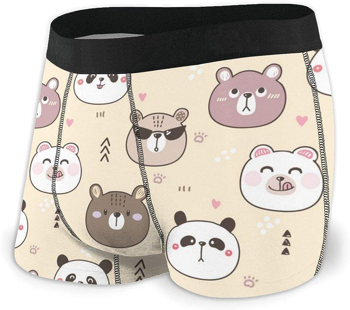 Randolph Wordsworth Mens Boxer Briefs Cartoon Funny Bear Cute Panda Cool Breathable Underwear