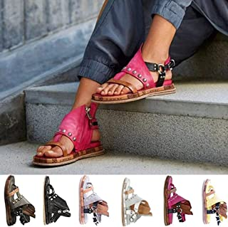 Open Toe Flat Sandals for Women Comfort Orthopedic Bunion Sandals with With Arch Support Casual Gladiator Sandals Flip Flops Shoes Ladies Beach Sandals,Red,42