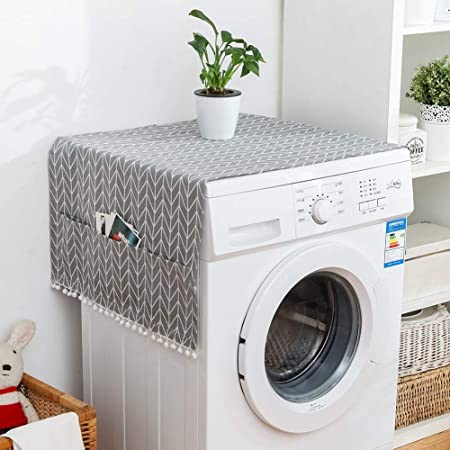 Wilk Linge de Coton Multi-usages Anti-poussière Housse de Protection Réfrigérateur Lave-Linge Machine à Laver