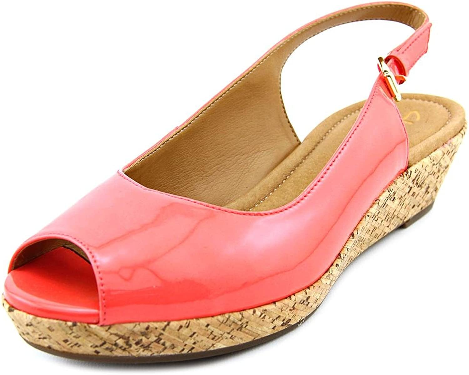 Clarks Women's Orlena Currant Wedge Sandal Coral Style 09198