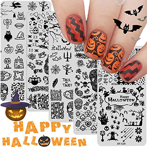Halloween Nail Art Stamping Plates - 5PCS Halloween Nail Stamp Plate Templates Pumpkin Grimace Skull Eye Nail Stamper Kit Halloween Holiday Party Manicure Stencils Design Tool