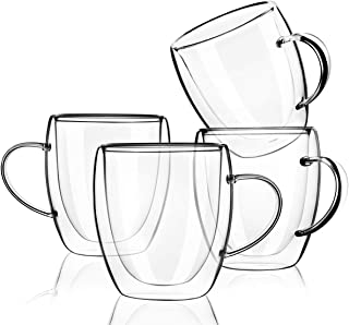 FUNDOUNS Coffee Mugs,Clear Double Wall Insulated Glass With Handle for Coffee, Tea, Latte, Cappuccino(4 pack,8 oz)