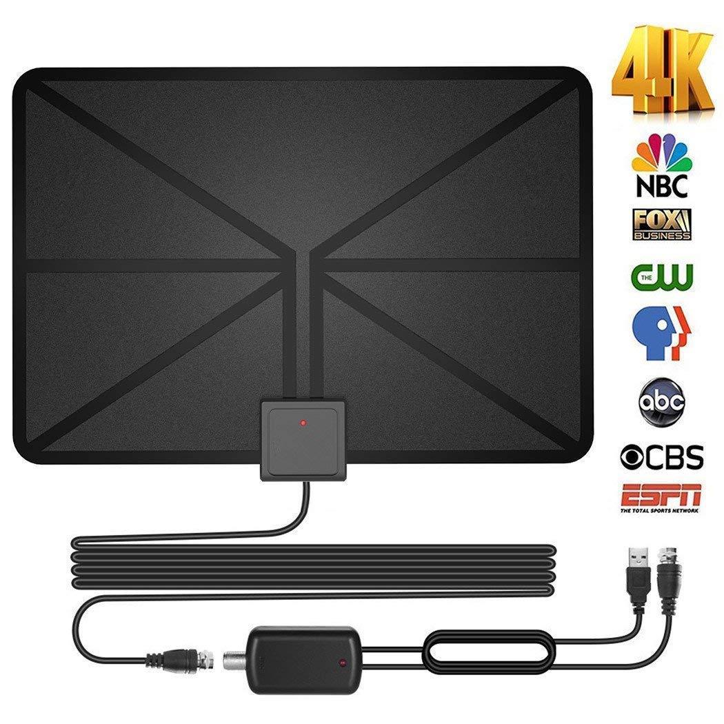 Amplificado Antena TNT HD Antena TV Interior Potente 50 – 60 Miles Range Digital Antena HDTV con 13,2 ft de Alta Performance Cable Coaxial, Desmontable señal de Amplificador Booster 1080P 4 K: Amazon.es: Electrónica