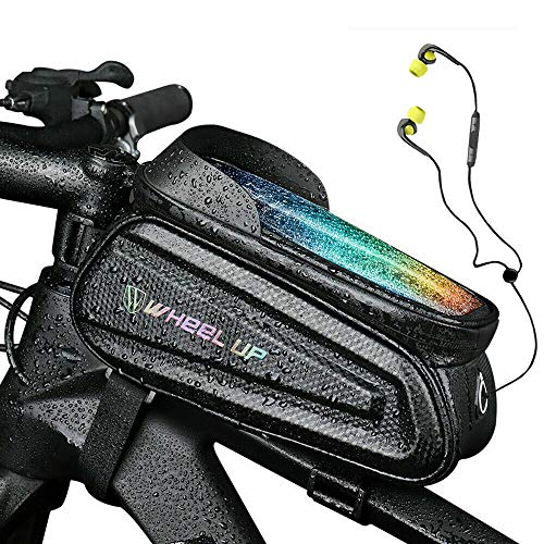 Zunbo - Bolsa para cuadro de bicicleta, impermeable, para cuadro de bicicleta, con soporte para móvil, organizador de gran capacidad