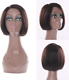 RemeeHi Short Straight Bob Hair Wig None Lace Full Head Wig Oblique Bangs For Women