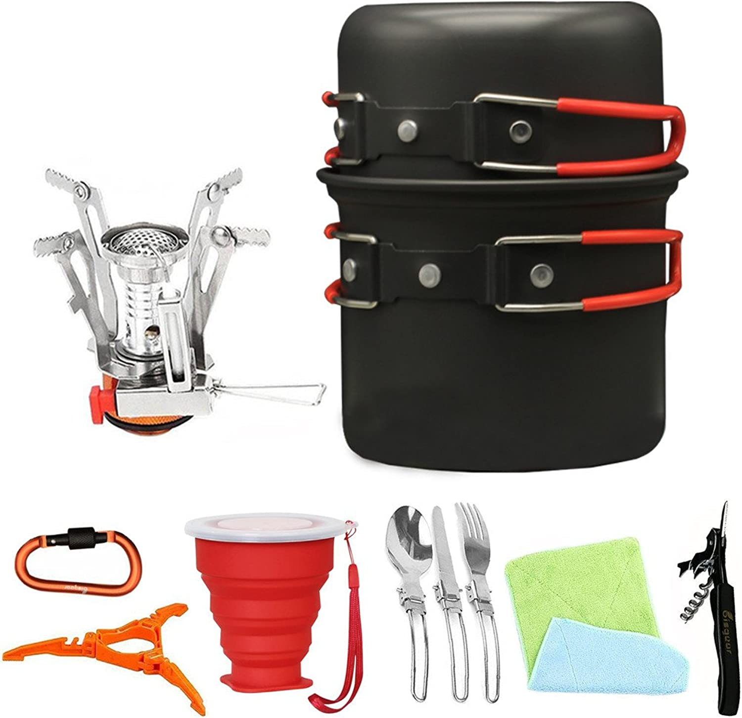 13pcs Camping Cookware Stove Carabiner Canister Stand Tripod Collapsible Cup Utensils Mess Kit Backpacking Cooking Gear Hiking Pot Pans Outdoors Cookset Bug Out Bag Wine Opener