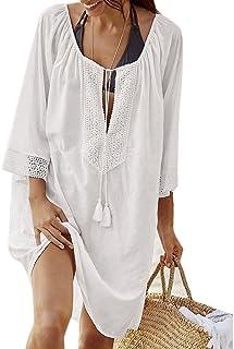 7723b72016 Bonboho Femme Cover-Up Lâche Sarong Tunique Mini Robe de Plage Grande  Taille Chemisiers Blouses
