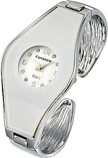 Womens Fashion Silver Tone Analog Quartz Bangle Cuff Bracelet Wrist Watch Arabic Numerals Elegant Dress Jewelry Watches 6 Inches