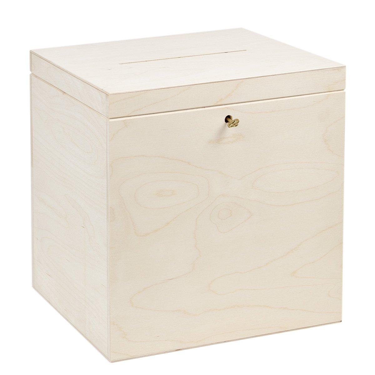 Caja de madera para regalo, 25 x 29 x 30 cm, caja para tarjetas, caja para bodas: Amazon.es: Hogar