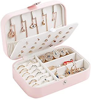 Travel Jewelry Case, Double Layer Portable Travel Jewelry Box Organizer Display Storage Case for Rings Earrings Necklaces ...