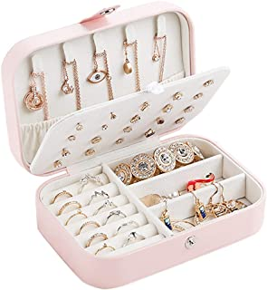 Valyria Travel Jewelry Case, Double Layer Portable Travel Jewelry Box Organizer Display Storage Case for Rings Earrings Necklaces Jewelry