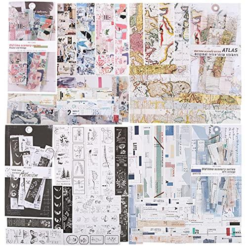 120pcs Pegatinas Adhesivas Material Scrapbooking Estilo Vintage Pegatina Decorativa Papel Escrito Etiquetas...